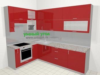 Угловая кухня МДФ глянец в современном стиле 7,2 м², 170 на 270 см, Красный, верхние модули 92 см, верхний модуль под свч, встроенный духовой шкаф