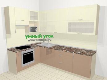 Угловая кухня МДФ глянец в современном стиле 7,2 м², 170 на 270 см, Жасмин / Капучино, верхние модули 92 см, верхний модуль под свч, встроенный духовой шкаф