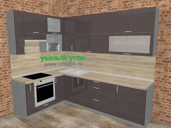 Угловая кухня МДФ глянец в стиле лофт 7,2 м², 170 на 270 см, Шоколад, верхние модули 92 см, верхний модуль под свч, встроенный духовой шкаф