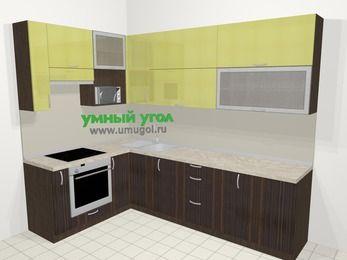 Кухни пластиковые угловые в современном стиле 7,2 м², 170 на 270 см, Желтый Галлион глянец / Дерево Мокка, верхние модули 92 см, верхний модуль под свч, встроенный духовой шкаф