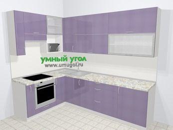 Кухни пластиковые угловые в современном стиле 7,2 м², 170 на 270 см, Сиреневый глянец, верхние модули 92 см, верхний модуль под свч, встроенный духовой шкаф