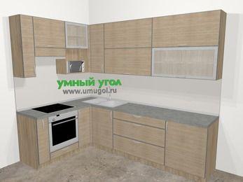 Кухни пластиковые угловые в стиле лофт 7,2 м², 170 на 270 см, Чибли бежевый, верхние модули 92 см, верхний модуль под свч, встроенный духовой шкаф