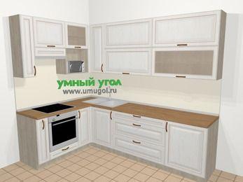 Угловая кухня МДФ патина в классическом стиле 7,2 м², 170 на 270 см, Лиственница белая, верхние модули 92 см, верхний модуль под свч, встроенный духовой шкаф