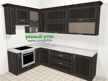 Угловая кухня МДФ патина в классическом стиле 7,2 м², 170 на 270 см, Венге, верхние модули 92 см, верхний модуль под свч, встроенный духовой шкаф
