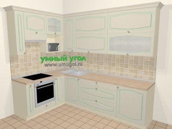 Угловая кухня МДФ патина в стиле прованс 7,2 м², 170 на 270 см, Керамик, верхние модули 92 см, верхний модуль под свч, встроенный духовой шкаф