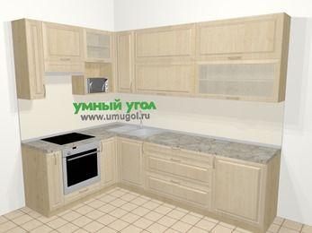 Угловая кухня из массива дерева в классическом стиле 7,2 м², 170 на 270 см, Светло-коричневые оттенки, верхние модули 92 см, верхний модуль под свч, встроенный духовой шкаф