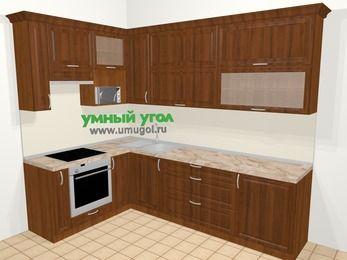 Угловая кухня из массива дерева в классическом стиле 7,2 м², 170 на 270 см, Темно-коричневые оттенки, верхние модули 92 см, верхний модуль под свч, встроенный духовой шкаф