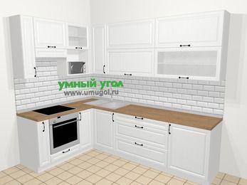 Угловая кухня из массива дерева в скандинавском стиле 7,2 м², 170 на 270 см, Белые оттенки, верхние модули 92 см, верхний модуль под свч, встроенный духовой шкаф