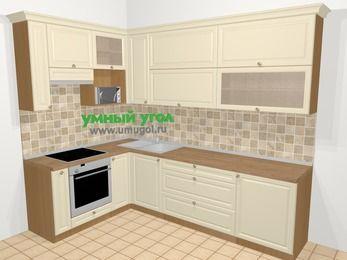 Угловая кухня из массива дерева в стиле кантри 7,2 м², 170 на 270 см, Бежевые оттенки, верхние модули 92 см, верхний модуль под свч, встроенный духовой шкаф