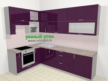 Угловая кухня МДФ глянец в современном стиле 7,2 м², 170 на 270 см, Баклажан, верхние модули 92 см, верхний модуль под свч, встроенный духовой шкаф
