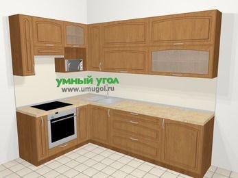Угловая кухня МДФ патина в классическом стиле 7,2 м², 170 на 270 см, Ольха, верхние модули 92 см, верхний модуль под свч, встроенный духовой шкаф