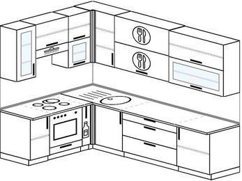 Угловая кухня 7,2 м² (1,7✕2,7 м), верхние модули 92 см, встроенный духовой шкаф