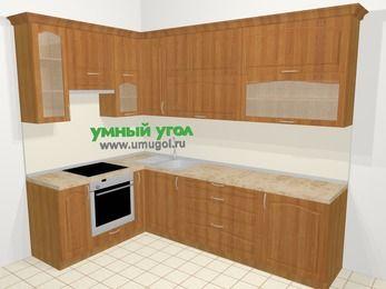 Угловая кухня МДФ матовый в классическом стиле 7,2 м², 170 на 270 см, Вишня, верхние модули 92 см, встроенный духовой шкаф
