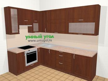 Угловая кухня МДФ матовый в классическом стиле 7,2 м², 170 на 270 см, Вишня темная, верхние модули 92 см, встроенный духовой шкаф