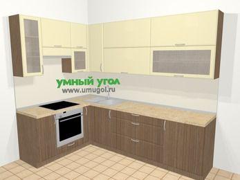 Угловая кухня МДФ матовый в современном стиле 7,2 м², 170 на 270 см, Ваниль / Лиственница бронзовая, верхние модули 92 см, встроенный духовой шкаф