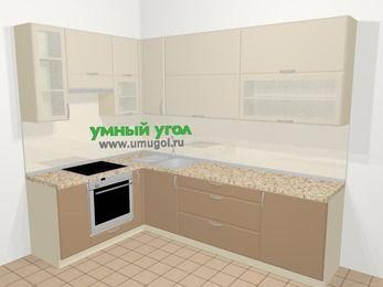 Угловая кухня МДФ матовый в современном стиле 7,2 м², 170 на 270 см, Керамик / Кофе, верхние модули 92 см, встроенный духовой шкаф