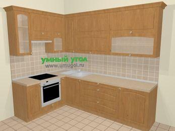 Угловая кухня МДФ матовый в стиле кантри 7,2 м², 170 на 270 см, Ольха, верхние модули 92 см, встроенный духовой шкаф