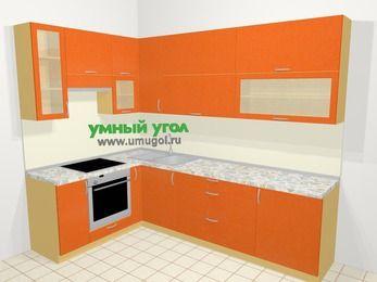 Угловая кухня МДФ металлик в современном стиле 7,2 м², 170 на 270 см, Оранжевый металлик, верхние модули 92 см, встроенный духовой шкаф