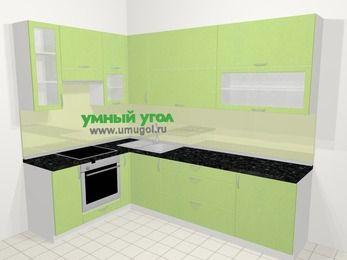 Угловая кухня МДФ металлик в современном стиле 7,2 м², 170 на 270 см, Салатовый металлик, верхние модули 92 см, встроенный духовой шкаф