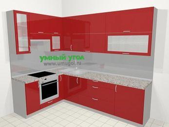 Угловая кухня МДФ глянец в современном стиле 7,2 м², 170 на 270 см, Красный, верхние модули 92 см, встроенный духовой шкаф