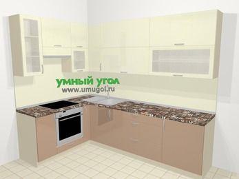 Угловая кухня МДФ глянец в современном стиле 7,2 м², 170 на 270 см, Жасмин / Капучино, верхние модули 92 см, встроенный духовой шкаф