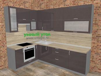 Угловая кухня МДФ глянец в стиле лофт 7,2 м², 170 на 270 см, Шоколад, верхние модули 92 см, встроенный духовой шкаф