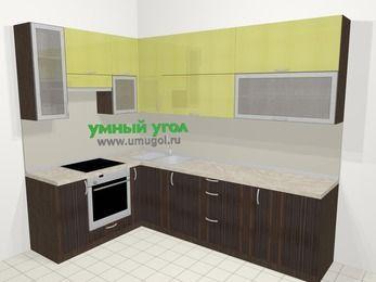 Кухни пластиковые угловые в современном стиле 7,2 м², 170 на 270 см, Желтый Галлион глянец / Дерево Мокка, верхние модули 92 см, встроенный духовой шкаф