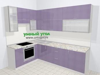Кухни пластиковые угловые в современном стиле 7,2 м², 170 на 270 см, Сиреневый глянец, верхние модули 92 см, встроенный духовой шкаф