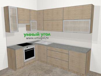 Кухни пластиковые угловые в стиле лофт 7,2 м², 170 на 270 см, Чибли бежевый, верхние модули 92 см, встроенный духовой шкаф