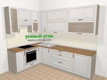 Угловая кухня МДФ патина в классическом стиле 7,2 м², 170 на 270 см, Лиственница белая, верхние модули 92 см, встроенный духовой шкаф