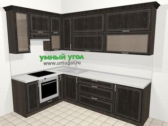Угловая кухня МДФ патина в классическом стиле 7,2 м², 170 на 270 см, Венге, верхние модули 92 см, встроенный духовой шкаф
