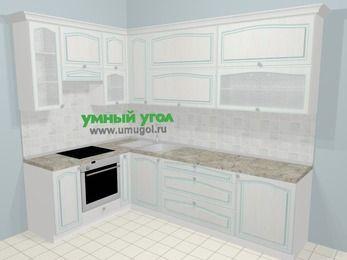 Угловая кухня МДФ патина в стиле прованс 7,2 м², 170 на 270 см, Лиственница белая, верхние модули 92 см, встроенный духовой шкаф