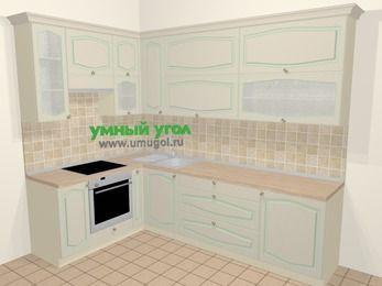 Угловая кухня МДФ патина в стиле прованс 7,2 м², 170 на 270 см, Керамик, верхние модули 92 см, встроенный духовой шкаф