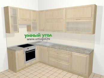 Угловая кухня из массива дерева в классическом стиле 7,2 м², 170 на 270 см, Светло-коричневые оттенки, верхние модули 92 см, встроенный духовой шкаф