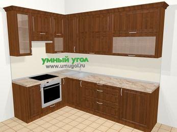 Угловая кухня из массива дерева в классическом стиле 7,2 м², 170 на 270 см, Темно-коричневые оттенки, верхние модули 92 см, встроенный духовой шкаф