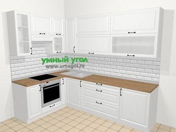 Угловая кухня из массива дерева в скандинавском стиле 7,2 м², 170 на 270 см, Белые оттенки, верхние модули 92 см, встроенный духовой шкаф