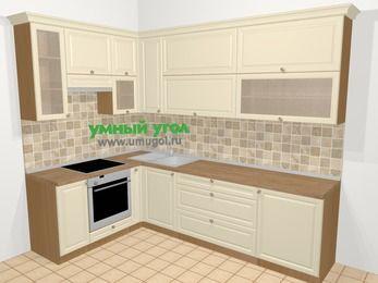 Угловая кухня из массива дерева в стиле кантри 7,2 м², 170 на 270 см, Бежевые оттенки, верхние модули 92 см, встроенный духовой шкаф
