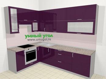 Угловая кухня МДФ глянец в современном стиле 7,2 м², 170 на 270 см, Баклажан, верхние модули 92 см, встроенный духовой шкаф