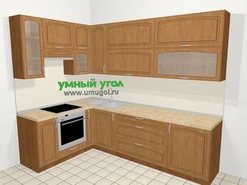 Угловая кухня МДФ патина в классическом стиле 7,2 м², 170 на 270 см, Ольха, верхние модули 92 см, встроенный духовой шкаф