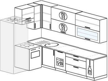 Угловая кухня 7,2 м² (1,7✕2,7 м), верхние модули 92 см, посудомоечная машина, холодильник, отдельно стоящая плита
