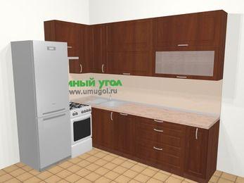 Угловая кухня МДФ матовый в классическом стиле 7,2 м², 170 на 270 см, Вишня темная, верхние модули 92 см, посудомоечная машина, холодильник, отдельно стоящая плита