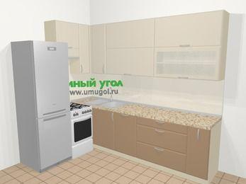 Угловая кухня МДФ матовый в современном стиле 7,2 м², 170 на 270 см, Керамик / Кофе, верхние модули 92 см, посудомоечная машина, холодильник, отдельно стоящая плита