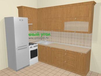 Угловая кухня МДФ матовый в стиле кантри 7,2 м², 170 на 270 см, Ольха, верхние модули 92 см, посудомоечная машина, холодильник, отдельно стоящая плита