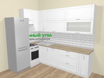 Угловая кухня МДФ матовый  в скандинавском стиле 7,2 м², 170 на 270 см, Белый, верхние модули 92 см, посудомоечная машина, холодильник, отдельно стоящая плита
