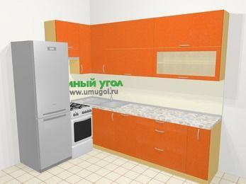Угловая кухня МДФ металлик в современном стиле 7,2 м², 170 на 270 см, Оранжевый металлик, верхние модули 92 см, посудомоечная машина, холодильник, отдельно стоящая плита
