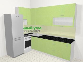 Угловая кухня МДФ металлик в современном стиле 7,2 м², 170 на 270 см, Салатовый металлик, верхние модули 92 см, посудомоечная машина, холодильник, отдельно стоящая плита