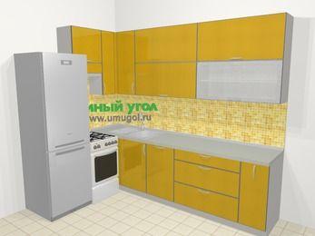 Кухни пластиковые угловые в современном стиле 7,2 м², 170 на 270 см, Желтый глянец, верхние модули 92 см, посудомоечная машина, холодильник, отдельно стоящая плита