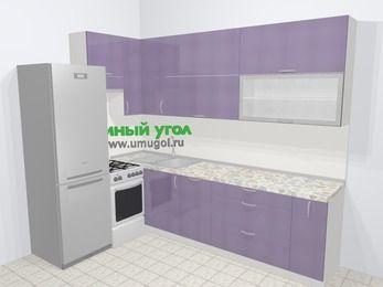 Кухни пластиковые угловые в современном стиле 7,2 м², 170 на 270 см, Сиреневый глянец, верхние модули 92 см, посудомоечная машина, холодильник, отдельно стоящая плита