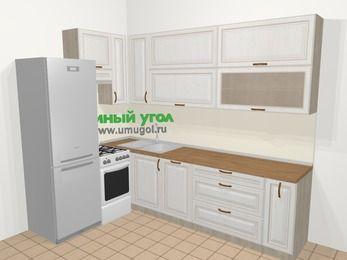 Угловая кухня МДФ патина в классическом стиле 7,2 м², 170 на 270 см, Лиственница белая, верхние модули 92 см, посудомоечная машина, холодильник, отдельно стоящая плита
