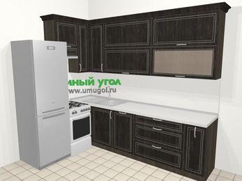 Угловая кухня МДФ патина в классическом стиле 7,2 м², 170 на 270 см, Венге, верхние модули 92 см, посудомоечная машина, холодильник, отдельно стоящая плита